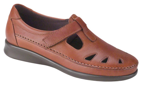 Chestnut leather upper with adjustable leather strap by Sas.