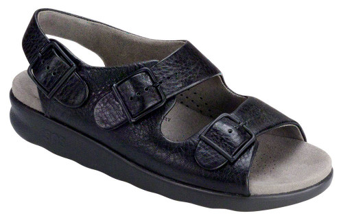 Black super soft classic sandal with adjustable straps by Sas.