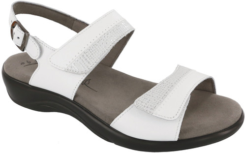White two toned leather sandal with plush insole by Sas.