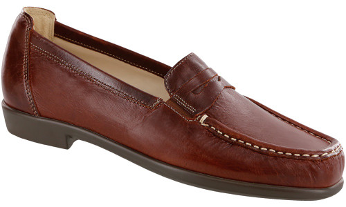 Walnut colored classic loafer with removable footbed by Sas.