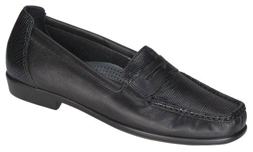 Black classic loafer with removable footbed by Sas.