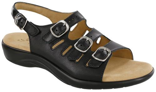 Black adjustable strap sandal by Sas.