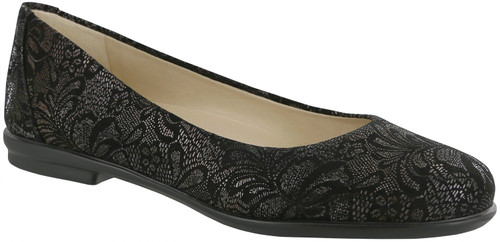 A  black lace classic sleek ballet flat with removable footbed.