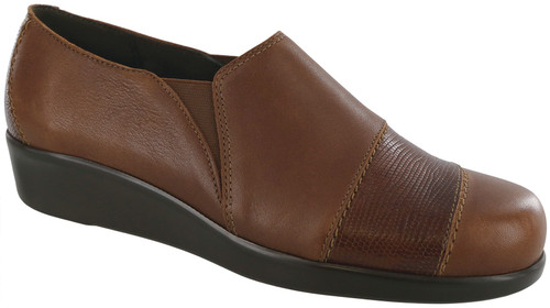 Auburn/ Lizard dress casual wedge with removable footbed by Sas.