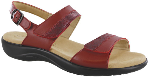 Red two toned leather sandal with plush insole by Sas.