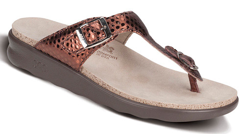 Bronze sandal with functional buckle by Sas.