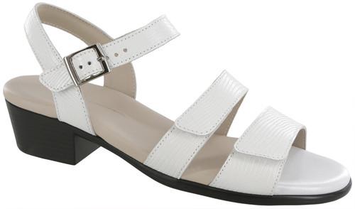 White Lizard low heel dress sandal from Sas.