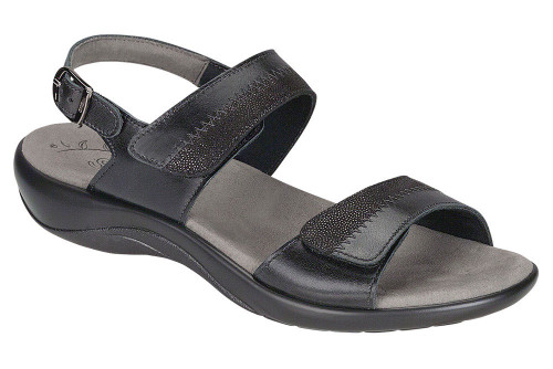 Black two toned leather sandal with plush insole by Sas.
