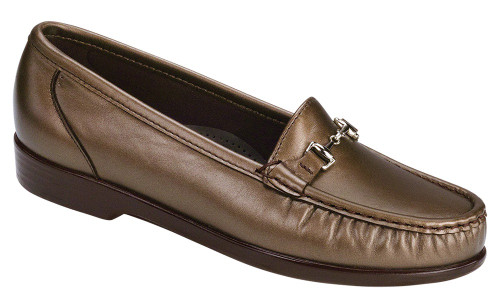 Bronze moccasin with removable footbed by Sas.