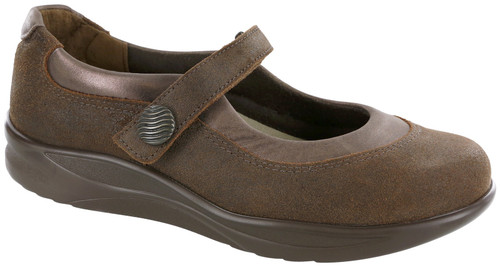 Brown mary jane style shoe with removable footbed by SAS.