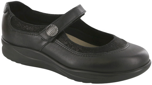 Black mary jane style shoe with removable footbed by SAS.