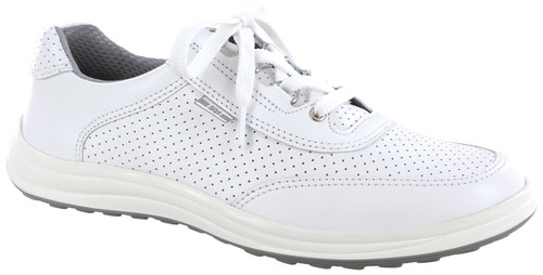White perf leather athletic shoe by Sas.