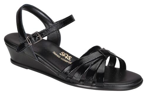 Black Patent dress sandal by Sas.