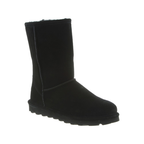 Bearpaw Women's Elle Short 8 inch black classic suede boot features a slimmed down construction.