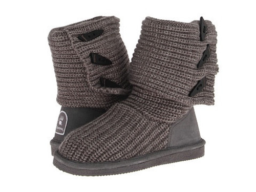 Knit tall gray boot by Bearpaw.