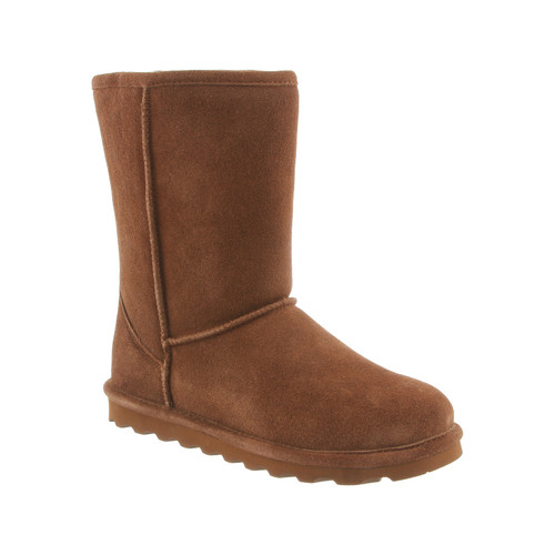 Bearpaw Women's Elle Short 8 inch Hickory classic suede boot features a slimmed down construction.
