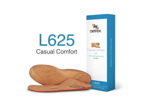 Aetrex Casual Comfort Orthotics are designed for everyday wear and provides optimal support and cushioning. This orthotic features our signature Aetrex Arch Support to help biomechanically align your body & help prevent common foot pain such as Plantar Fasciitis, Arch Pain and Metatarsalgia.