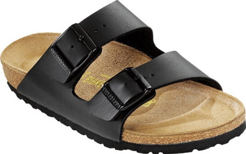 Black synthetic leather two strap sandal with cork footbed by Birkenstock.
