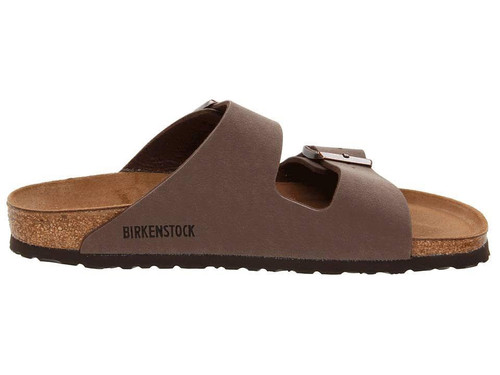 Mocha synthetic two strap sandal with cork footbed by Birkenstock.