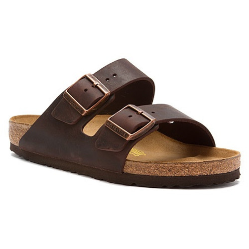 Habana oiled leather two strap sandal with cork footbed by Birkenstock.