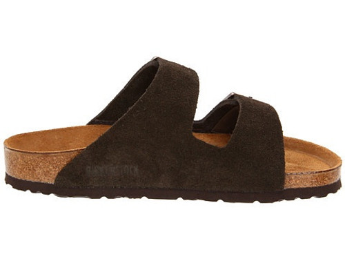 Mocha suede two strap sandal with cork footbed by Birkenstock.
