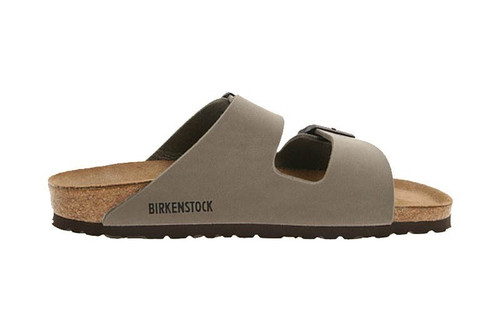 Stone synthetic two strap sandal with cork footbed by Birkenstock.