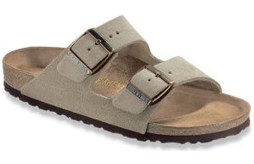 Taupe suede two strap sandal with cork footbed by Birkenstock.