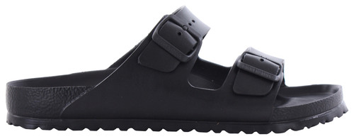 Synthetic black two strap sandal by Birkenstock.