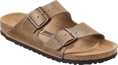 Tobacco Oiled Leather two strap sandal with cork footbed by Birkenstock.
