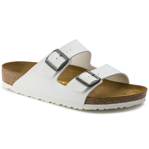 White synthetic two strap sandal with cork footbed by Birkenstock.