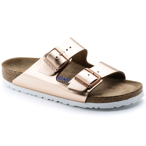 Metallic copper two strap sandal with cork footbed and soft layer over cork by Birkenstock.