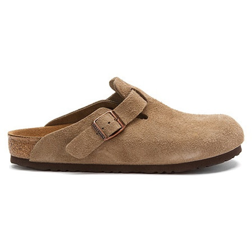 Taupe suede clog with cork footbed by Birkenstock.