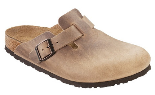 Tobacco brown clog with cork footbed by Birkenstock.