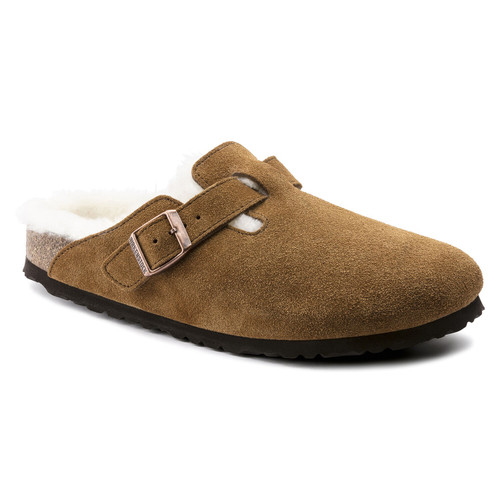 Mink shearling lined clog with cork footbed by Birkenstock.