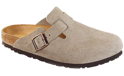 Taupe suede soft footbed clog by Birkenstock.