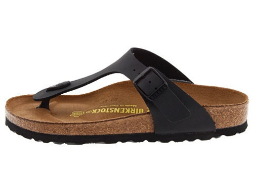 Black thong style sandal with cork footbed by Birkenstock.