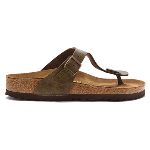 Gizeh golden brown thong sandal with cork footbed by Birkenstock.