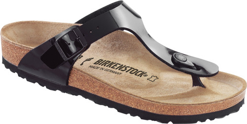 Black patent thong sandal with cork footbed by Birkenstock.
