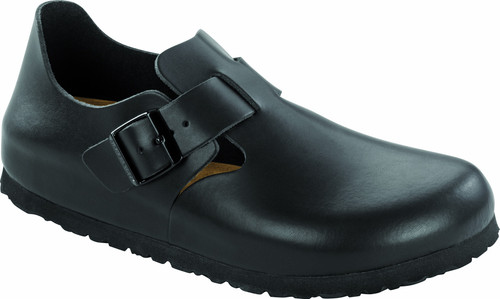 Soft footbed Black leather london with cork footbed by Birkenstock.