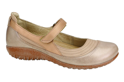 Linen and champagne mary jane with removable cork footbed by Naot.