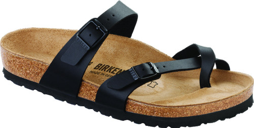 Black synthetic sandal with cork footbed by Birkenstock.