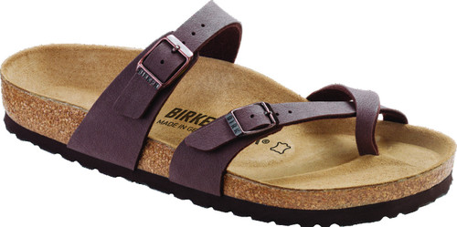 Mocca Birki buc Brown synthetic sandal with cork footbed by Birkenstock.
