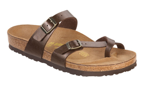Toffee synthetic sandal with cork footbed by Birkenstock.