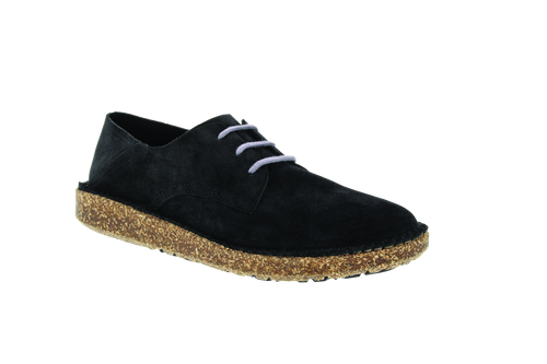 Black suede lace up with cork footbed by Birkenstock.