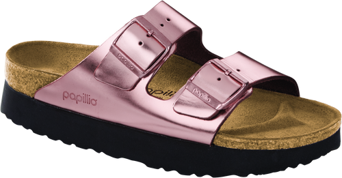 Copper metallic platform two strap sandal with cork footbed by Brikenstock.