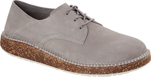Grey suede flat lace up with cork footbed by Birkenstock.