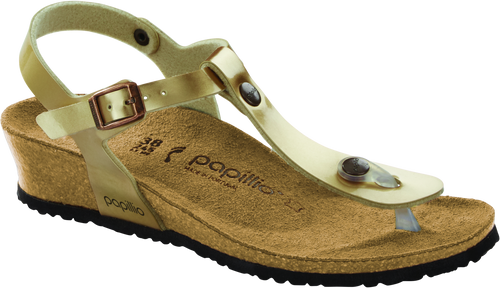 Light copper synthetic wedge sandal with cork footbed by Birkenstock.