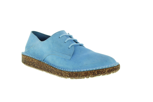 Sky suede flat lace up with cork footbed by Birkenstock.