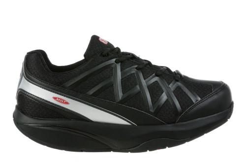Black sport rocker bottom shoe by MBT.