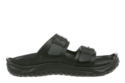Black synthetic two strap sandal by MBT.